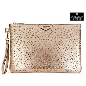 NWT VS Large Rose Gold Pouch Wristlet Clutch Bag